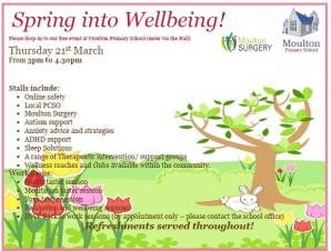 Spring into Wellbeing - Moulton Primary School - 3pm - 4.30pm